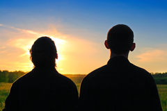 Two Persons Silhouette Royalty Free Stock Photo