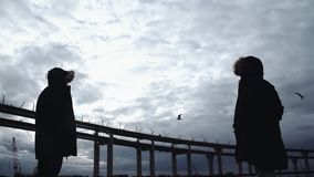 Two persons silhouettes standing on sea shore with highway bridge. Two persons silhouettes in winter jackets standing on sea shore with highway bridge on stock video footage