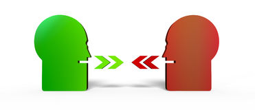 Two persons talking. Illustration of two persons, one green and one red,  talking to each other and expressing contrary opinions Stock Images