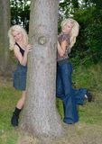 Two pertty blonde females Royalty Free Stock Photography