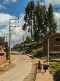 Two Peruvian women on the streets of Chinchero royalty free stock photography