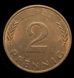 Two pfennig bronze coin. Front side of the two pfennig German Mark coin royalty free stock photography