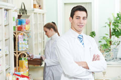 Two Pharmacy chemist workers Stock Image