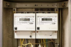 Two- phase electricity meter. With numbers Royalty Free Stock Photos