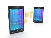Two phone sending SMS Stock Images