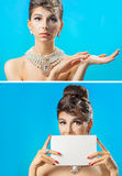 Two photo with a beautiful woman Royalty Free Stock Photos