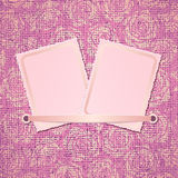Two photo card on pink fabric background Stock Image