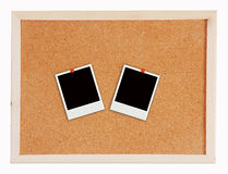 Two photo frame on Cork board Stock Photos
