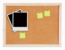Two photo frame on Cork board post it Royalty Free Stock Images