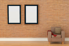 Two photo frames on the brick wall,3D illustration. Stock Image