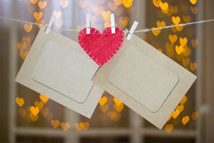 Two photo frames and red heart made of felt. Stock Images