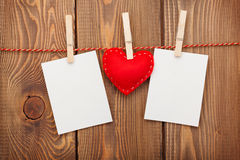Two photo frames and valentines day toy heart Stock Images