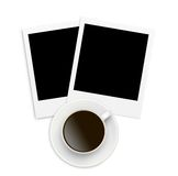 Two photo papers polaroid card on white Royalty Free Stock Photography