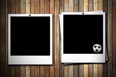 Two photoframe with soccer ball Stock Images