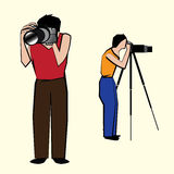 Two photographers vector illustration