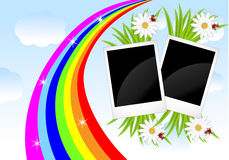 Two photos, flowers and rainbow on a background sky Royalty Free Stock Images