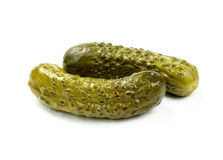 Two pickled cucumbers Royalty Free Stock Photo