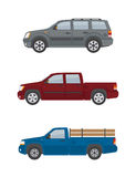 Two pickup trucks and off-road car isolated on white background. Royalty Free Stock Images
