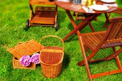 Two Picnic basket in grass Stock Photography