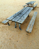 Two picnic benches Royalty Free Stock Photos