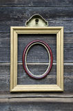 Two picture frame on old wooden wall Royalty Free Stock Images