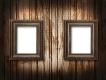 Two picture frames on a wooden background grunge Royalty Free Stock Images