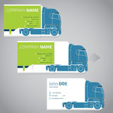 Two piece business card with truck and trailer. Two piece business card template design with truck and trailer vector illustration
