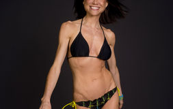 Two Piece Happiness Feamle Torso Black Bikini Royalty Free Stock Photo