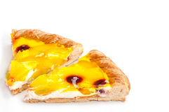 Two piece homemade fruit pizza with pieces of mankind. And the cherry on white background Stock Photography
