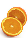 Two piece of Orange fruit. On background Stock Photo