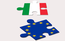 Two piece of puzzle and referendum in italy Royalty Free Stock Photos