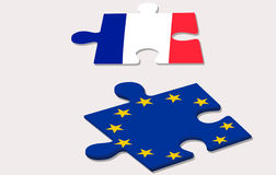 Two piece of puzzle representing france and european union durin Stock Photography