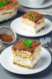 Two piece of traditional italian Tiramisu dessert cake on a white plate, decorated with cocoa powder and mint, on gray background stock image