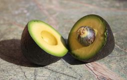 Two pieces of avocado. Avocado cut into two parts. On the rain forest stone table background royalty free stock images