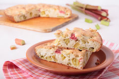 Two pieces of biscuit cake with rhubarb Stock Photo