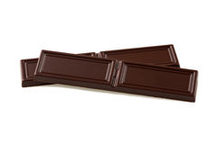 Two pieces of black chocolate Stock Image