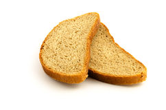 Two pieces of bread isolated on white Stock Photo