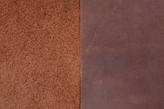 Two pieces of brown leather. Nubuck and smooth  leather surface Stock Images