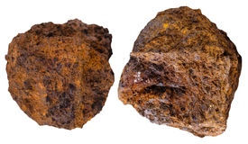 Two pieces brown limonite (bog iron ore) mineral Royalty Free Stock Images