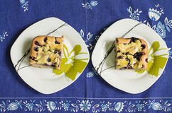 Two pieces of cake with blueberry Royalty Free Stock Image