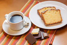 Two pieces of cake, chocolate  and cup of coffee Royalty Free Stock Photography