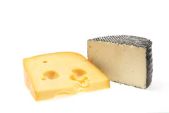 Two pieces of cheese Stock Images