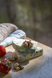 Two pieces of cheese roquefort with bread, nuts and strawberries in the daylight Stock Image