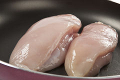 Two Pieces of Chicken. Two Boneless and Skinless Pieces of Chicken on a Pan Royalty Free Stock Images