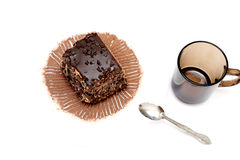 Two pieces of chocolate cake on plates, Royalty Free Stock Images