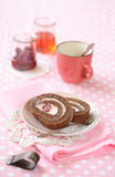 Two pieces of Chocolate Strawberry Swiss Roll Cake Stock Photos