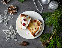 Two pieces of christmas cake with fruits and nuts Royalty Free Stock Photography