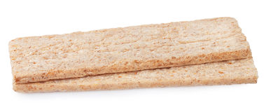 Two pieces of crispbread isolated on white background Stock Image