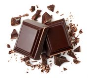 Two pieces of dark chocolate royalty free stock images