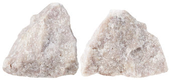 Two pieces of Dolomite mineral stone isolated Royalty Free Stock Photo